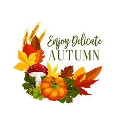 Autumn acorn leaf pumpkin greeting poster vector