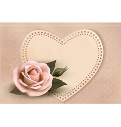 Retro greeting card with pink rose and heart vector