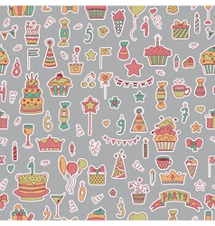 Seamless pattern with birthday elements on grey vector