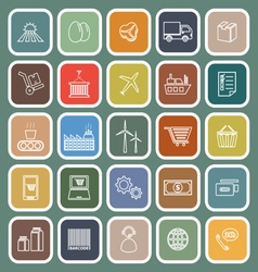 Supply chain line flat icons on green background vector