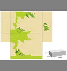 template for box design with grapevine vector image