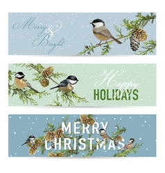 Christmas banners labels tags - winter birds vector