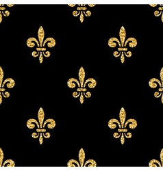Golden fleur-de-lis seamless pattern black 3 vector