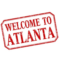 Atlanta - welcome red vintage isolated label vector