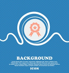 Award medal of honor icon sign blue and white vector