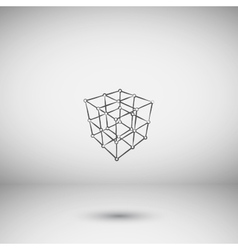 Wire frame polygonal element cube with lines and vector