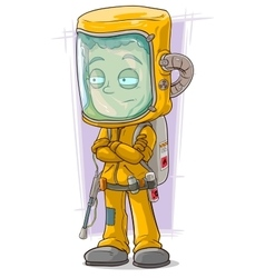 Cartoon scientist in protective gear vector