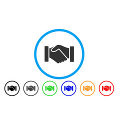 Acquisition handshake rounded icon vector