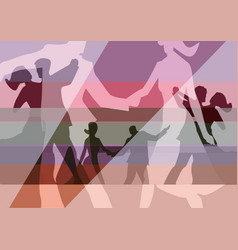 Balroom dancers couples collage background vector