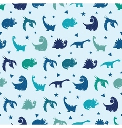 Blue dinosaurs silhouettes seamless pattern vector