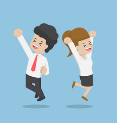 business people celebrating success by jumping vector image vector image