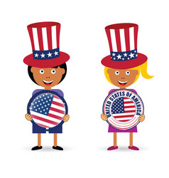 Children holding american grunge rubber vector