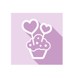 cupcake with two hearts icon vector image vector image