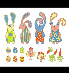 Cute cartoon rabbits vector image vector image