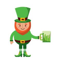 cute leprechaun holding cold beer drink vector image