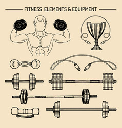 Fitness logos set hand sketched athletic vector
