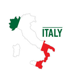 flag and map of italy vector image vector image