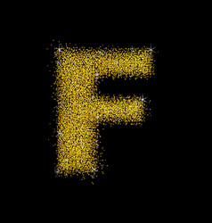 gold dust font type letter f vector image vector image
