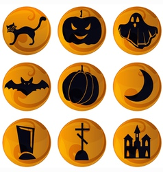 Halloween icons on orange vector image