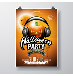 Halloween Party Flyer Design with pumpkin vector image