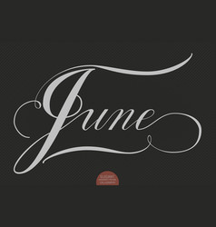 Hand drawn lettering june elegant vector