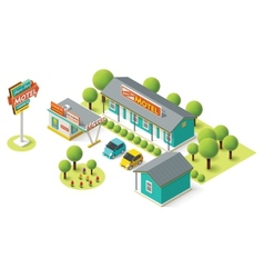 isometric motel vector image