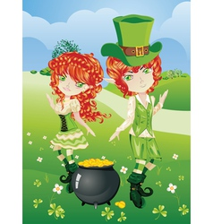 Leprechaun Boy and Girl vector image vector image