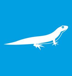 Lizard icon white vector