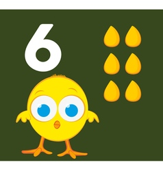 Number 6 - Chick with six grains of corn vector image vector image