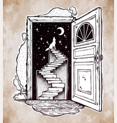 Open door into a dream stairway to the sky wolf vector