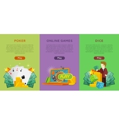 Pocker online games dice casino banners set vector