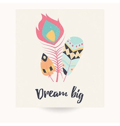 Postcard design with bohemian feathers vector