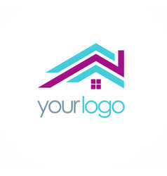 Roof color realty logo vector