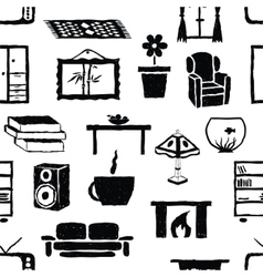 Seamless doodle living room pattern vector