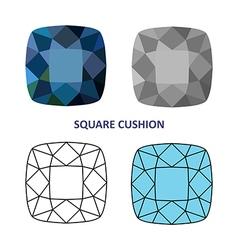 Square cushion gem vector