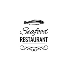 Tuna Vintage seafood logo restaurant label vector image