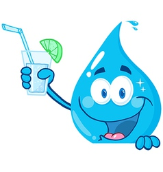Water Drop Cartoon Character Holding A Water Glass vector image vector image