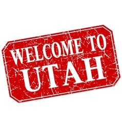 Welcome to utah red square grunge stamp vector
