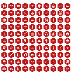 100 military resources icons hexagon red vector