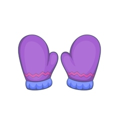Pair of warm mittens icon cartoon style vector