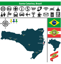 map of santa catarina brazil vector image