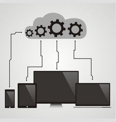 Cloud computing - devices connected to the cloud vector