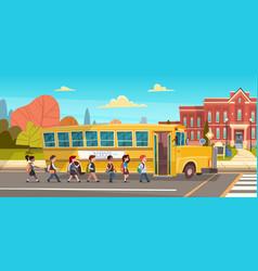 Group of pupils mix race walking to school vector