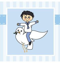 Boy flying with a dove vector image