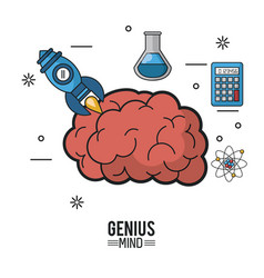 Colorful poster of genius mind with brain and vector