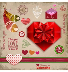 Valentine day labels and icons elements collection vector