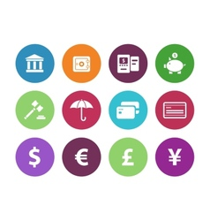 Banking circle icons on white background vector