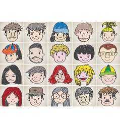 Set of various cartoon faces vector