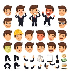 Set of cartoon businessman character for your vector