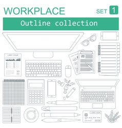 Working place in outline linear flat design vector